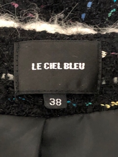 ルシェルブルー コート サイズ38 M レディース 黒×アイボリー×マルチ 冬物/ニット