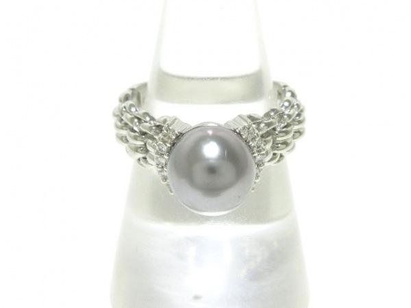 プレフィート リング美品  Pt900×パール×ダイヤモンド ダークグレー 0.1カラット