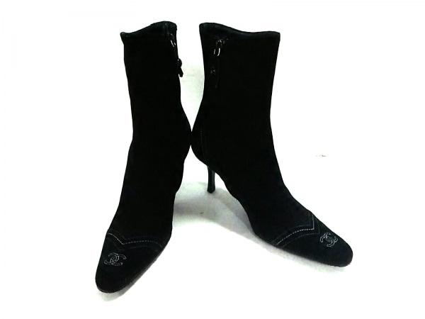 シャネル ショートブーツ 35 1/2 レディース 黒×白 アウトソール張替済 スエード