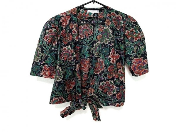 イヴサンローラン スカートセットアップ サイズM レディース美品  黒×レッド×マルチ