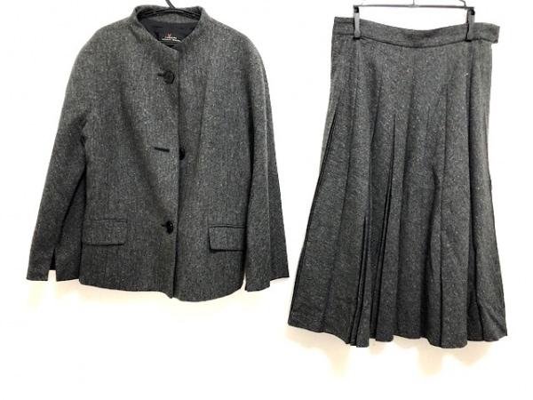 レキップ ヨシエイナバ スカートスーツ サイズ40 M レディース美品  グレー×マルチ