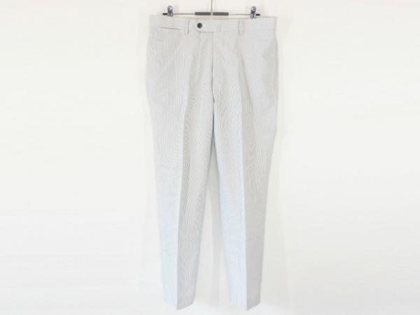 トゥモローランド パンツ サイズ46 XL メンズ美品  白×ダークグレー ストライプ