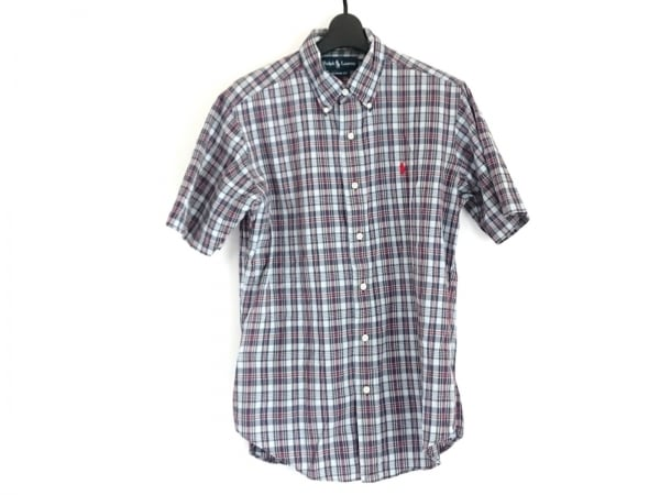 ラルフローレン 半袖シャツ サイズM メンズ ライトブルー×ネイビー×レッド