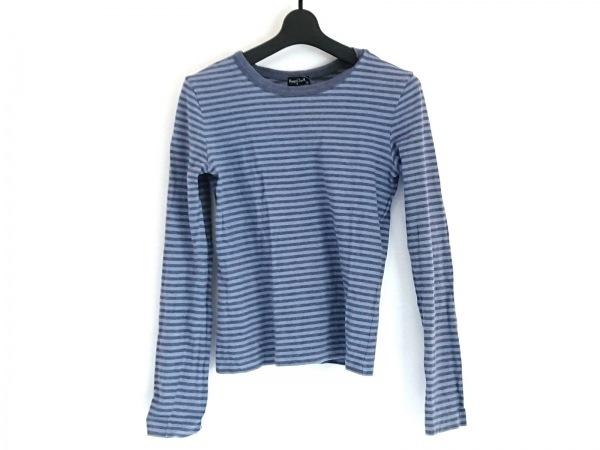 マーガレットハウエル 長袖Tシャツ サイズ2 M レディース ネイビー×ライトブルー