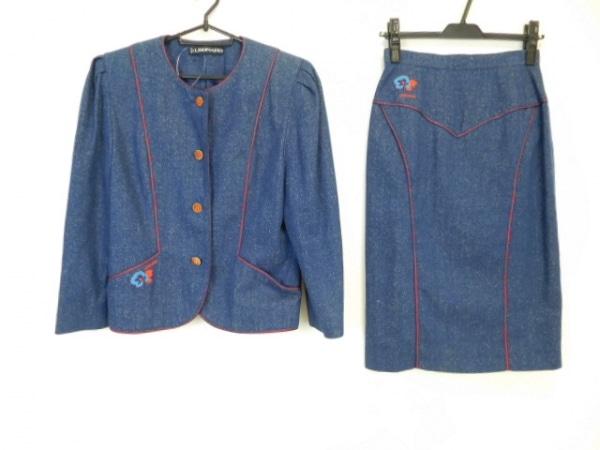 LEONARD(レオナール) スカートスーツ サイズ9 M レディース美品  ネイビー×レッド