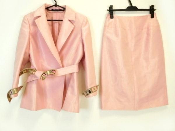 LEONARD(レオナール) スカートスーツ サイズ9 M レディース ピンク×マルチ