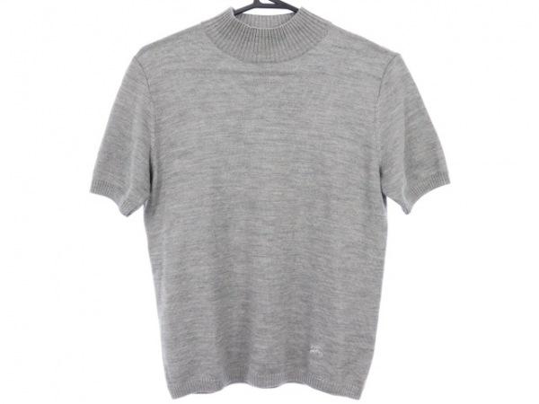 バーバリーロンドン 半袖セーター サイズ2 M レディース美品  グレー ハイネック
