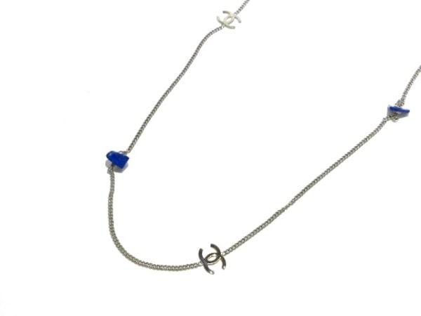 シャネル ネックレス美品  金属素材×カラーストーン シルバー×ブルー ココマーク