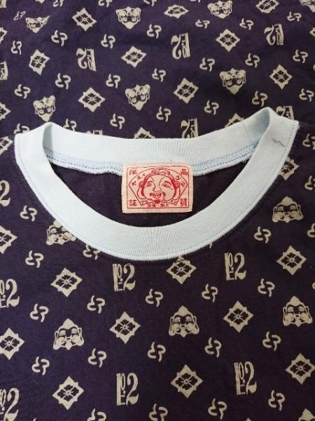 EVISU(エヴィス) 半袖Tシャツ サイズ40 M メンズ ネイビー×アイボリー