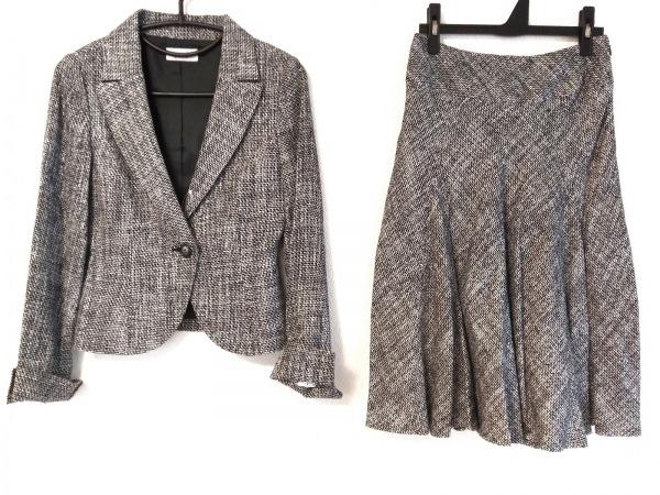 プチプードル スカートスーツ サイズM レディース 黒×グレー×白 ツイード/ラメ