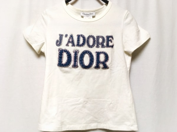 クリスチャンディオール 半袖Tシャツ レディース アイボリー×ブルー×ピンク