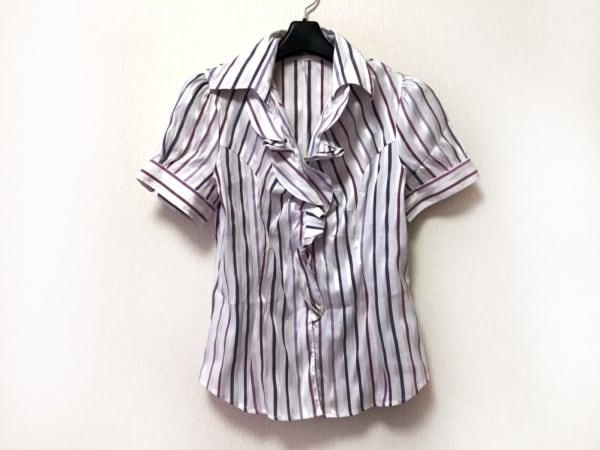 ナラカミーチェ 半袖シャツブラウス サイズ3 L レディース美品  白×パープル