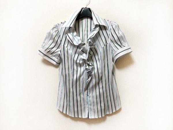 ナラカミーチェ 半袖シャツブラウス サイズ3 L レディース美品  白×ブルー×グリーン