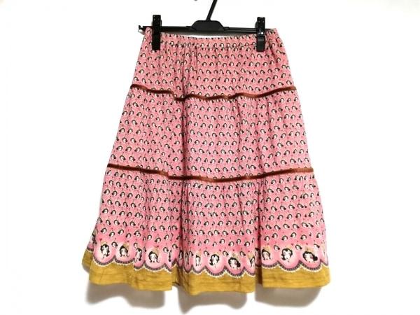 ツモリチサト スカート サイズ2 M レディース美品  ピンク×アイボリー×ブラウン