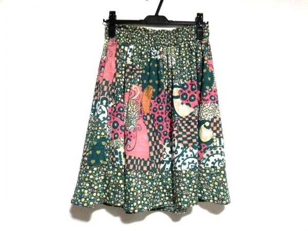 ツモリチサト スカート サイズ2 M レディース美品  グリーン×ピンク×マルチ