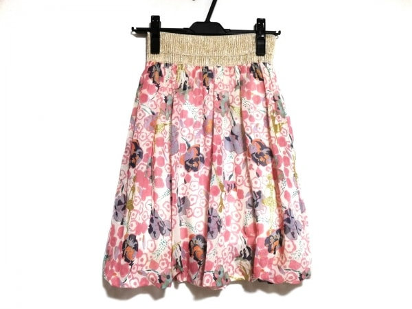 ツモリチサト スカート サイズ2 M レディース美品  ピンク×ゴールド×マルチ