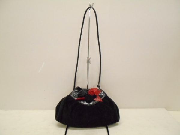 braccialini(ブラッチャリーニ) ショルダーバッグ美品  黒 フラワー スエード×レザー