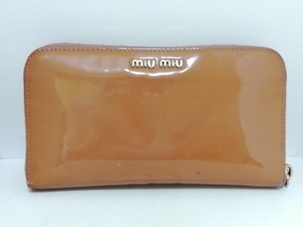 miumiu(ミュウミュウ) 長財布 - ライトブラウン ラウンドファスナー/リボン