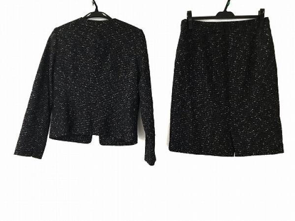 PLS+T(PLST)(プラステ) スカートスーツ サイズL L レディース美品  黒×白 ツイード