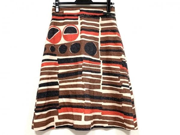 ハイアリン スカート サイズ36 S レディース美品  オレンジ×ベージュ×ブラウン