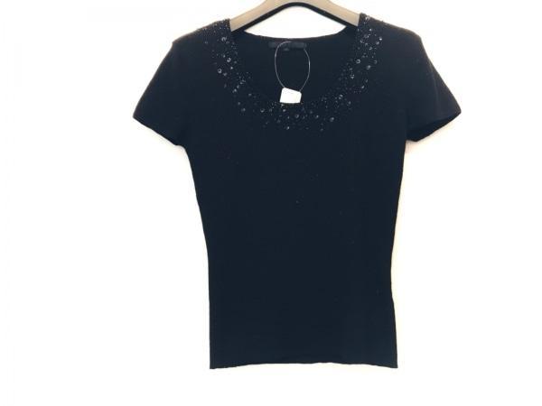 アナイ 半袖セーター サイズ38 M レディース美品  黒 ビーズ/スパンコール/ラメ