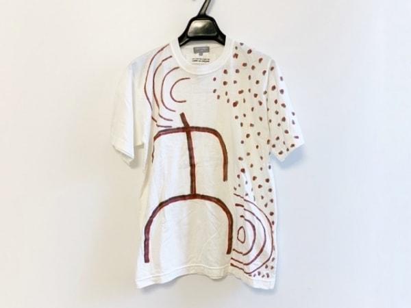 コムデギャルソンオム 半袖Tシャツ サイズS メンズ 白×レッド×ダークブラウン