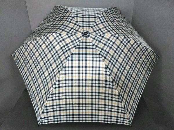 ダックス 折りたたみ傘美品  ライトブルー×ネイビー×ダークブラウン チェック柄