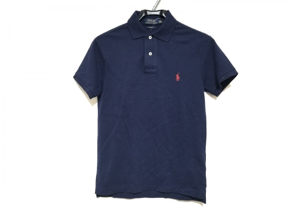 ポロラルフローレン 半袖ポロシャツ サイズXS メンズ美品  ネイビー×レッド