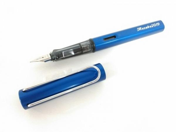 LAMY(ラミー) 万年筆新品同様  ブルー インクなし/ネーム刻印 金属素材