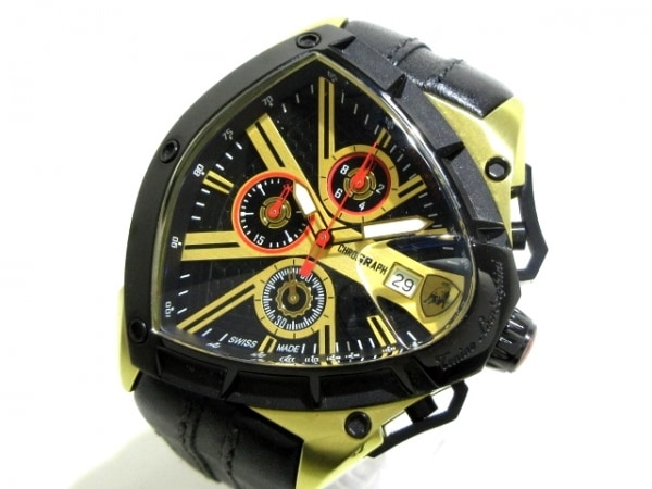 TONINO LAMBORGHINI(ランボルギーニ) 腕時計 スパイダー RH6C064 メンズ 黒×ゴールド