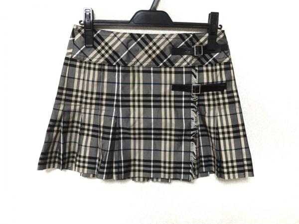 バーバリーブルーレーベル 巻きスカート サイズ38 M レディース 黒×ベージュ×マルチ