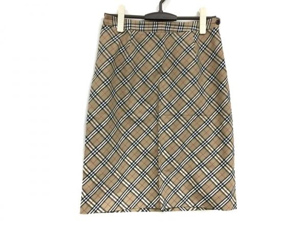 バーバリーズ スカート サイズ42 L レディース美品  ベージュ×黒×レッド チェック柄