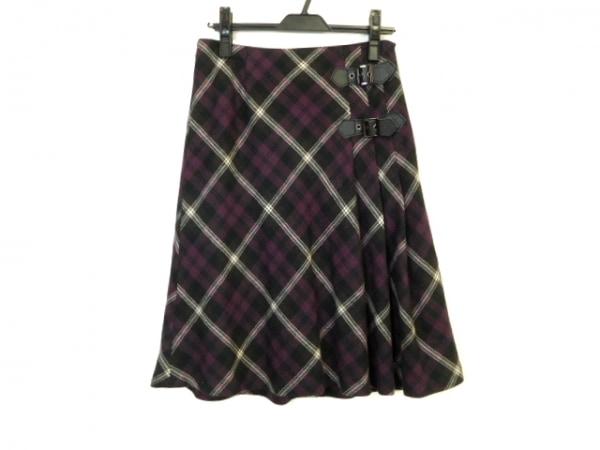 ニジュウサンク スカート サイズ38 M レディース美品  パープル×黒×白 チェック柄