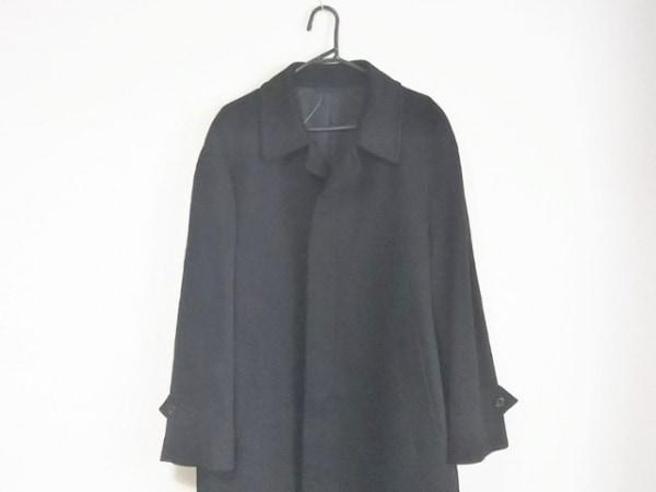 コロンボ コート サイズL メンズ美品  黒 冬物/カシミヤ/brummell/ネーム刺繍