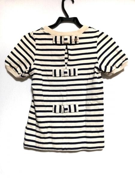 カオン 半袖Tシャツ サイズS レディース美品  ベージュ×ネイビー リボン/ボーダー
