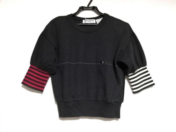 SONIARYKIEL(ソニアリキエル) トレーナー レディース 黒×レッド×白 肩パッド/半袖