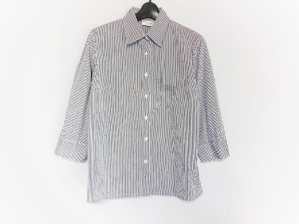 ピッコーネ 七分袖シャツブラウス レディース美品  白×黒 CLUB/ストライプ/刺繍