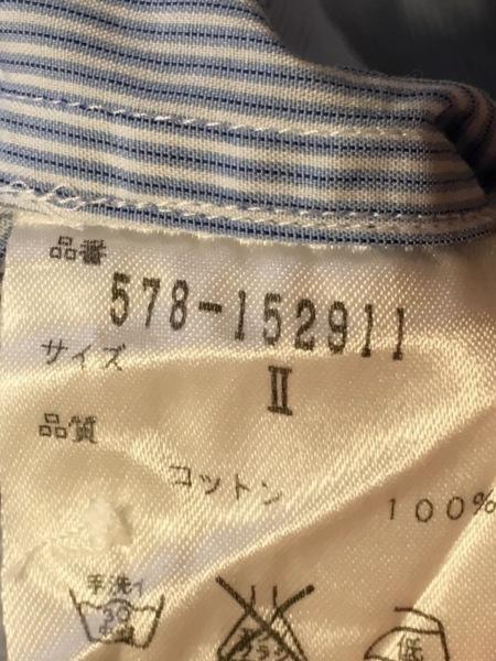 マーガレットハウエル 半袖カットソー サイズ2 M レディース ライトブルー×白