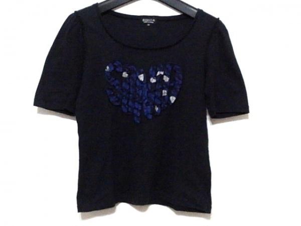 ソニアリキエル 半袖Tシャツ サイズ38 M レディース 黒×ブルー×ライトグレー ハート