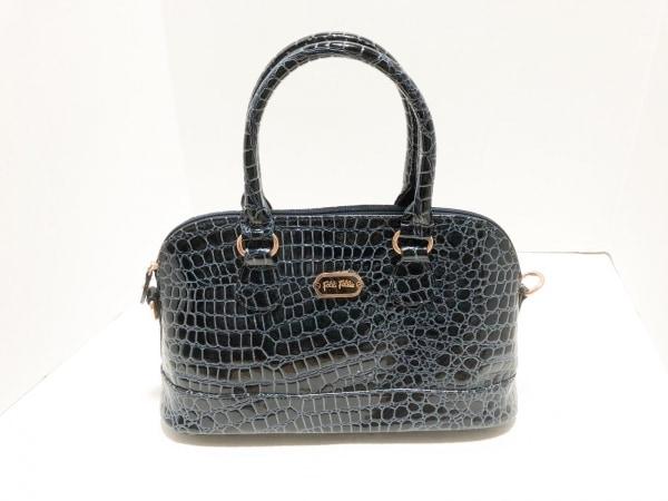 フォリフォリ ハンドバッグ 黒×ライトブルー 型押し加工 エナメル(合皮)