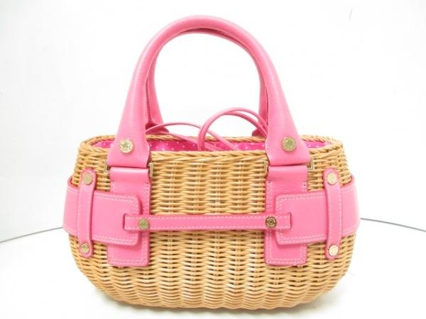 サマンサタバサ ハンドバッグ ライトブラウン×ピンク かごバッグ 合皮×天然繊維