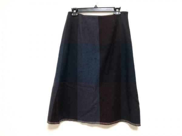パラスパレス ロングスカート サイズ3 L レディース ボルドー×ネイビー×マルチ
