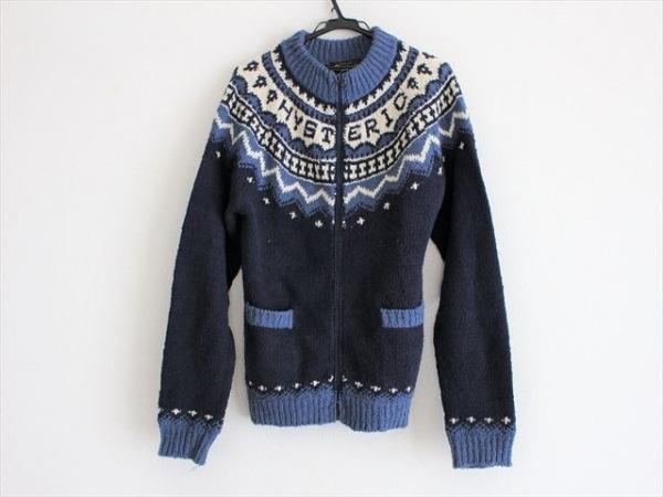 ヒステリック 長袖セーター サイズs S メンズ ネイビー×ブルー×アイボリー
