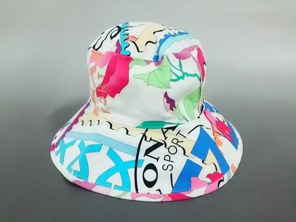 LEONARD(レオナール) 帽子 白×ピンク×マルチ SPORT コットン