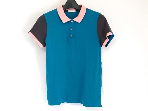 ポールスミス 半袖ポロシャツ サイズM レディース グリーン×ダークグレー×ピンク