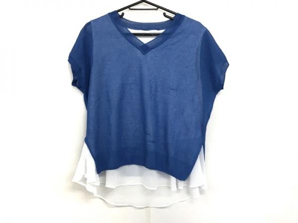 自由区/jiyuku(ジユウク) 半袖カットソー サイズ38 M レディース美品  白×ブルー