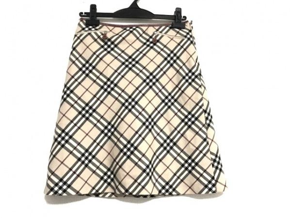 バーバリーブルーレーベル スカート サイズ36 S レディース ベージュ×ボルドー×黒