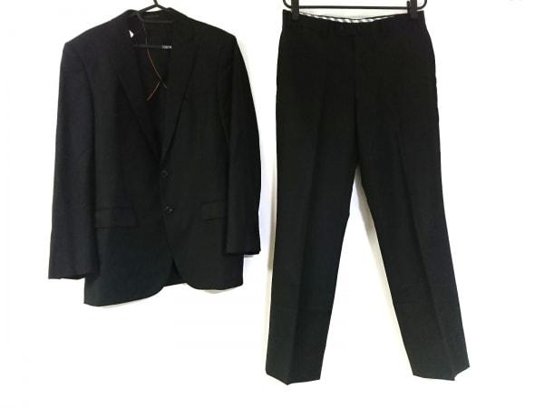 ヒルトンタイム シングルスーツ サイズ94 メンズ 黒 肩パッド/ストライプ