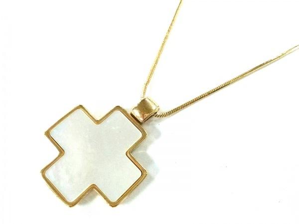 AGATHA(アガタ) ネックレス美品  金属素材×シェル ゴールド クロス