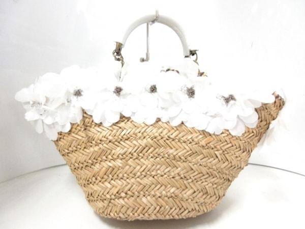 サマンサタバサ トートバッグ ライトブラウン×白×ベージュ かごバッグ/フラワー